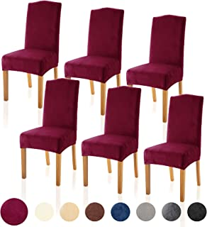 TIANSHU Velvet Dining Chair Cover Soft Stretch Dining Room Chair Slipcover Set of 6, Burgundy Red
