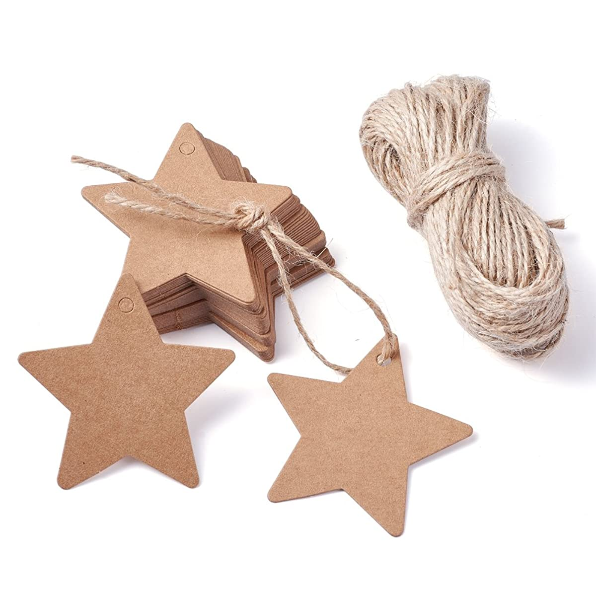 Kissitty 100pcs Brown Paper Gift Tags Bonbonniere Favor Thank You Gift Tags 2.3