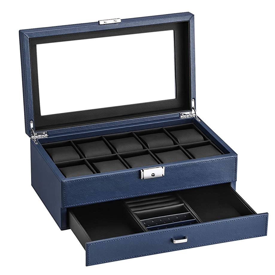 SONGMICS Watch Box 12 Mens Watch Organizer Jewelry Display Case Blue Textured Faux Leather UJWB012Q