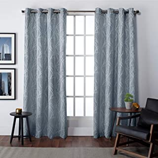 Exclusive Home Curtains EH8020-03 2-108G Finesse Branch Print Grommet Top Curtain Panel Pair, 54x108, Steel Blue, 2 Piece