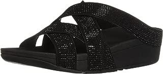 Women's Slinky Rokkit Criss-Cross Slide Sandal, Black, 8 M US