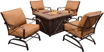 Cambridge CLASSIC5PCFP Classic 5-Piece Fire Pit Lounge Set Outdoor Furniture, Tan