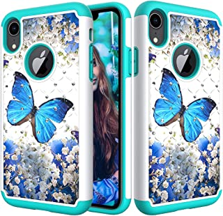iPhone XR Case, Ankoe Luxury Glitter Sparkle 3D Diamond Studded Rhinestone Painted Series Heavy Duty Dual Layer Shockproof Hybrid Impact Defender Case for iPhone XR 6.1