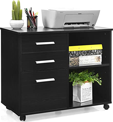 lowest Giantex 3-Drawer File Cabinet, Mobile Lateral Filing Cabinet 2021 with Wheels, Large Printer Stand with discount 3 Drawers and Open Storage Shelves, Multifunctional Storage Cabinet for Home Office (Black) sale