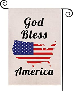 Java Wood God Bless The United States on July 4th Outside Garden Sign Stand Linen Double-Sided Patriotic Flag Memorial Day...