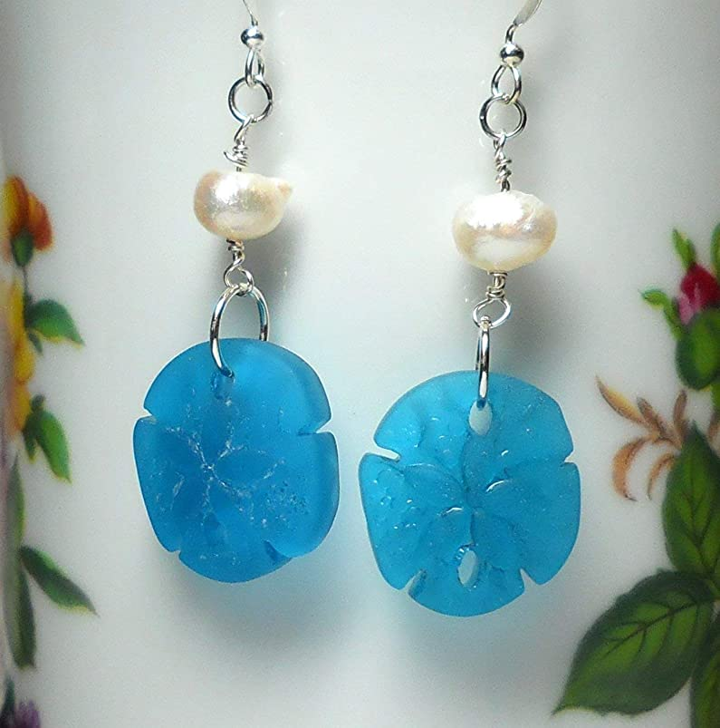 Turquoise Sand Dollar Earrings, Sea Glass Earrings, Tropical Jewelry with Cultured Pearl by BethExpressions rwchfyoq251821