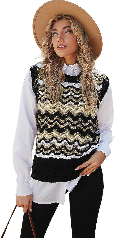 HODAMODA Women Black Wavy Stripes Knit Vest Pullover Sweater