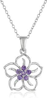 Amazon CollectionPlata de ley Gemstone Collar colgante de flor