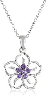 Sterling Silver Gemstone Flower Pendant Necklace