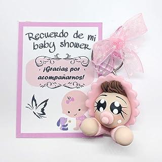 Paquete de 12 llaveros bebé Recuerdos de Baby Shower Rosa