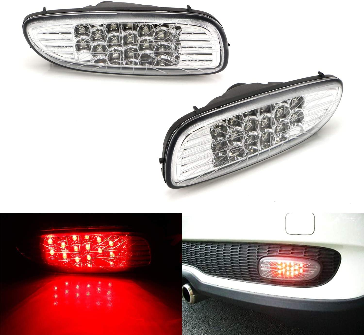 iJDMTOY 完全送料無料 定番スタイル Clear Lens LED Rear Fog Compatible Running wi Assy Lamps