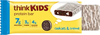think! thinkKIDS Protein Bars - Cookies & Creme 7g Protein, 3g Fiber, 4g Sugar, No Artificial Flavors or Colors, Gluten Fr...