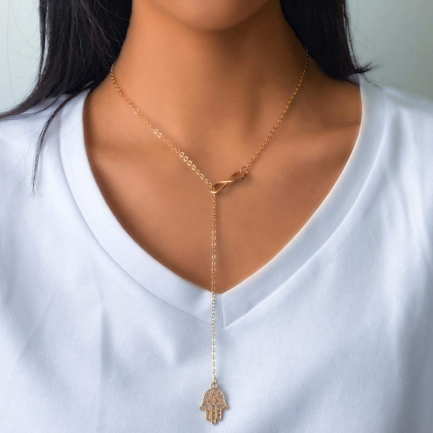Avanlin Vintage Hamsa Infinity Necklace Gold Hand of Fatima Pendant Necklaces Y Drop Lariat Chain Jewelry for Women and Girls