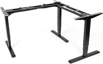 VIVO Electric Motor Sit Standing Height Adjustable Corner 3 Leg Desk Frame (Frame Only) | Sit Stand Ergonomic L Frame (DESK-V133E)