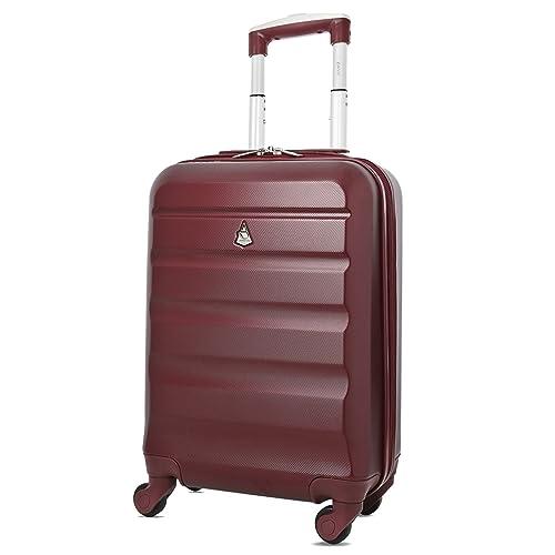 Aerolite ABS Bagage Cabine Bagage à Main Valise Rigide Légere à 4 roulettes, Approuvées pour Ryanair, Easyjet, Air France, Lufthansa, Jet2, Monarch et Plus, Vin Rouge