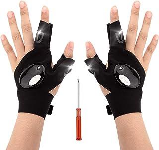 LUTER 1 Paar LED Zaklamp Handschoenen Visserijhandschoenen en Schroevendraaier Gadgetgereedschap Voor Reparatie Werken in ...