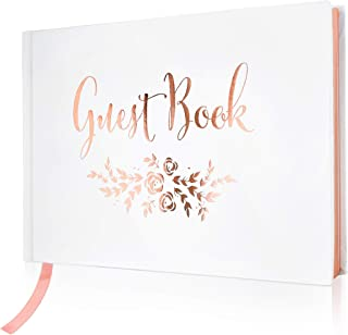 "Wedding Guest Book – Polaroid Album Photo Guestbook Registry Sign-in with Gold Foil & Gilded Edges – White Hardbound Book with Bookmark – 9"" x 6"" Small Rose Gold (100 Pages)"