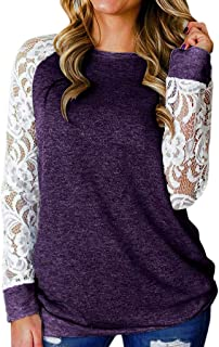 Women's Openwork Lace Flower Splicing Long Sleeve Solid Color Round Neck Comfort Pullover T-Shirt
