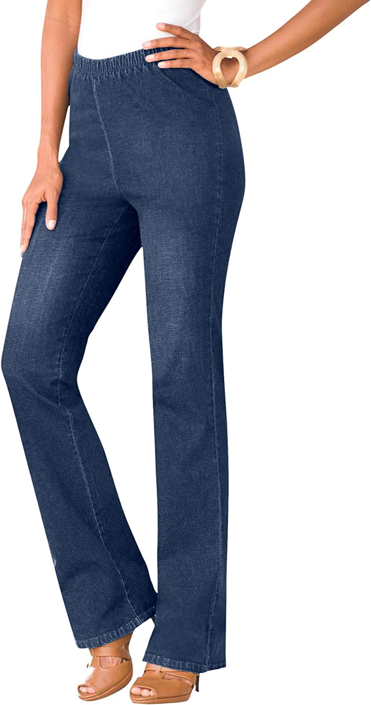 Roamans Women's Plus Size Bootcut Pull-On Stretch Jean