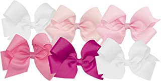 Wee Ones Girls' Medium Bow 6 pc Set Solid Grosgrain Variety Pack on a WeeStay Clip