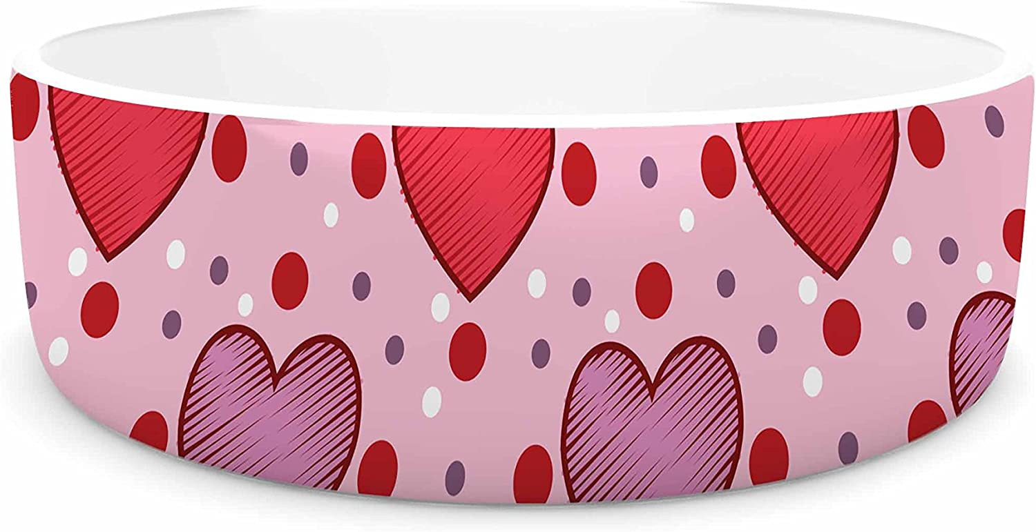 KESS InHouse Mydeas colord Candy Hearts Dotted Pink Red Vector Pet Bowl, 7  Diameter