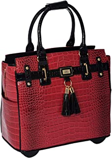 JKM and Company THE WESTLAKE Burgundy Red & Black Alligator Compatible With Computer iPad, Laptop Tablet Rolling Tote Bag Briefcase Carryall Bag