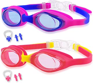 Vetoo Kids Swim Goggles, Pack of 2, Swim Goggles for Boys and Girls - Anti Fog UV Protection Leak Proof Kids Goggles for S...