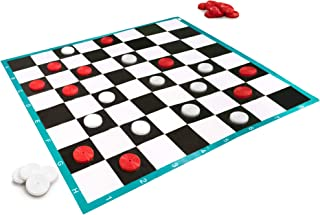 10x10ft Massive Lawn Checkers Game - Family Fun Colossal Checkers Game for Outdoor & Indoor Play, Parties, & Events - Large Red & White Checkers Pieces with Enormous Checkers Mat