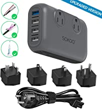 Sokoo Power Converter 220V to 110V, International Voltage Converter for Hair Straightener/Curling Iron, Step Down Universal Travel Adapter Europe UK/AU/US/in, 2Outlet, 4Port USB Charger QC3.0 Grey