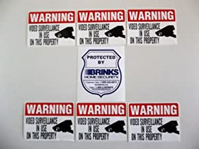 BRINKS Shield Shaped Video Surveillance Stickers - Waterproof and Fade Resistant