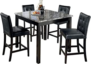 Ashley Furniture Signature Design - Maysville Counter Height Dining Room Set - 1 Table and 4 Barstools - Contemporary - Set of 5 - Black
