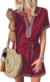 Womens Short Sleeve Casual Crochet Embroidered Slit Summer Dress