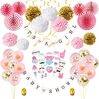 Girl Baby Shower Decorations Kit - Pink&Gold Baby Shower Party Decor for Girl | Set of 64, Baby Shower Banner, Photo Booth Props, Paper Pom Poms and fans, Hanging Swirl Decor, Balloons