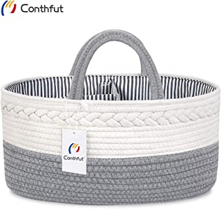 Conthfut Baby Diaper Caddy Organizer Handmade 100% Cotton Rope Nursery Storage Bin for Boys and Girls Large Tote Bag & Car Organizer with Removable Inserts Baby Shower Gift Basket