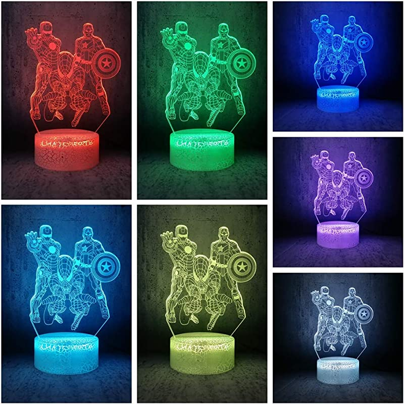 7 Color Changing Night Lamp 3D Atmosphere Bulbing Light 3D Visual Illusion LED Lamp For Kids Toy Christmas Birthday Gifts Spiderman Iron Man Captain America Marvel Heroes