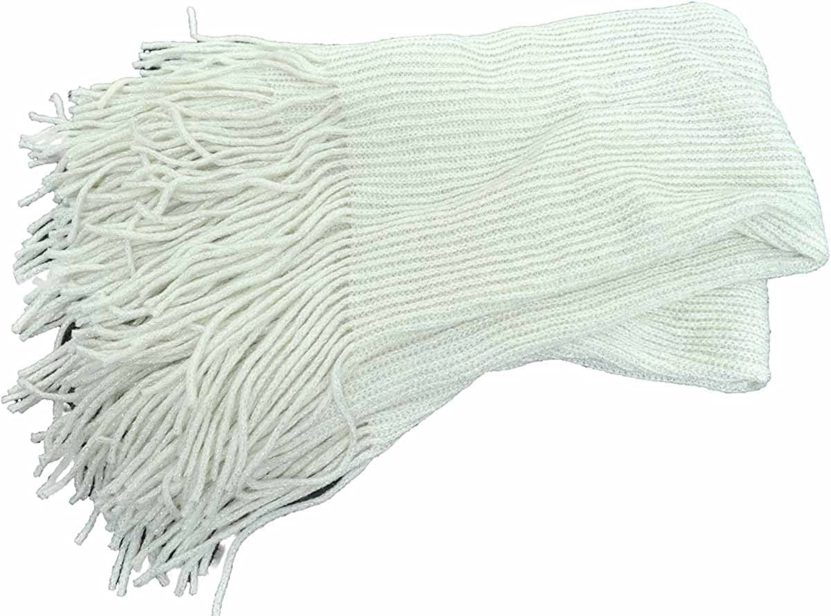 INC International Concepts Ivory silver fringed Loop Scarf