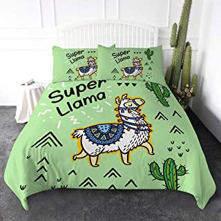 ARIGHTEX Llama Bedding Duvet Cover Sets Trendy Green Llamas Succulent Bed Set 3 Piece Girls Cute Cactus and Llama Comforter Cover (Twin)