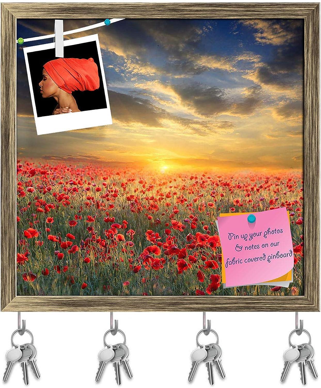 Artzfolio Poppy Filed On Sunset Key Holder Hooks   Notice Pin Board   Antique golden Frame 16.6 X 16Inch