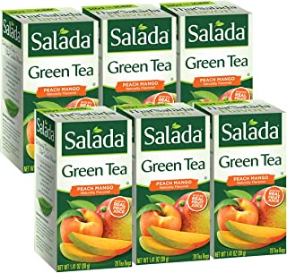 Salada Peach Mango Green Tea, 120 Individually Wrapped Tea Bags (Pack of 6)