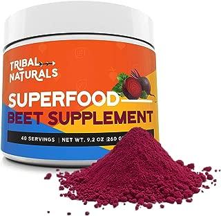 Tribal Naturals Superfood Beet Supplement, 9.2oz Organic Beet Root Powder, Beetroot Supplement Nitric Oxide Booster, Pre Workout for Men & Women, Beets Supplement Preworkout Powder Drink (40 Servings)