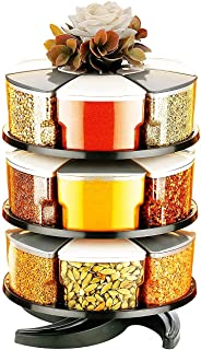 PRAMUKH FASHION Multipurpose Spice Rack Spice Containers for Storage Plastic Stackable and Space Savvy Dining Table Spice ...