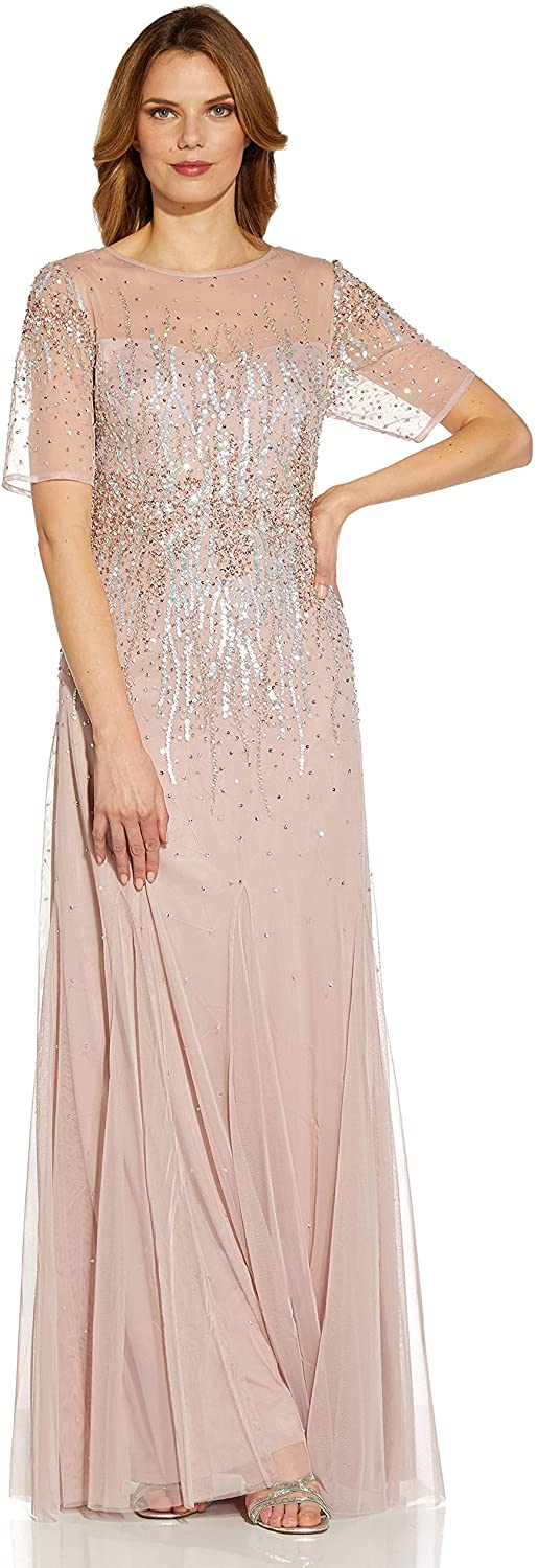 Adrianna Papell Women's Beaded Mesh Covered Gown