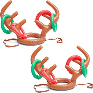 Blue Panda Christmas Inflatable Reindeer Antler Ring Toss Party Game (2 Pack)