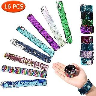 Lobay 16 Pack Mermaid Slap Bracelet,2-Color Sequin Reversible Glitter Slap Bracelets for Birthday Party Favors,Charm Sequins Flip Wristband Bracelet for Kids,Girls,Boys(Random Colors)