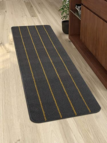 Saral Home Polypropylene Microfiber Anti Skid Striped Runner (Dark Grey, 45X120 cm)