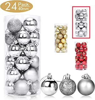 Aitsite 24 Pack Christmas Tree Ornaments Set 1.57 inches Mini Shatterproof Holiday Ornaments Balls for Christmas Decorations (Silver)