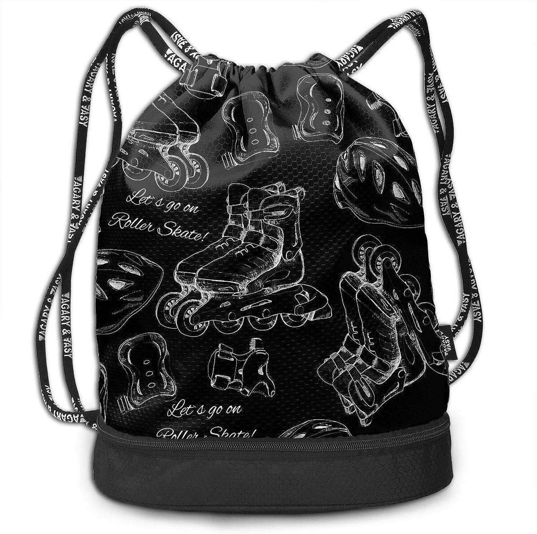 Gymsack Roller Skating Equipment Print Drawstring Bags  Simple School String Bag
