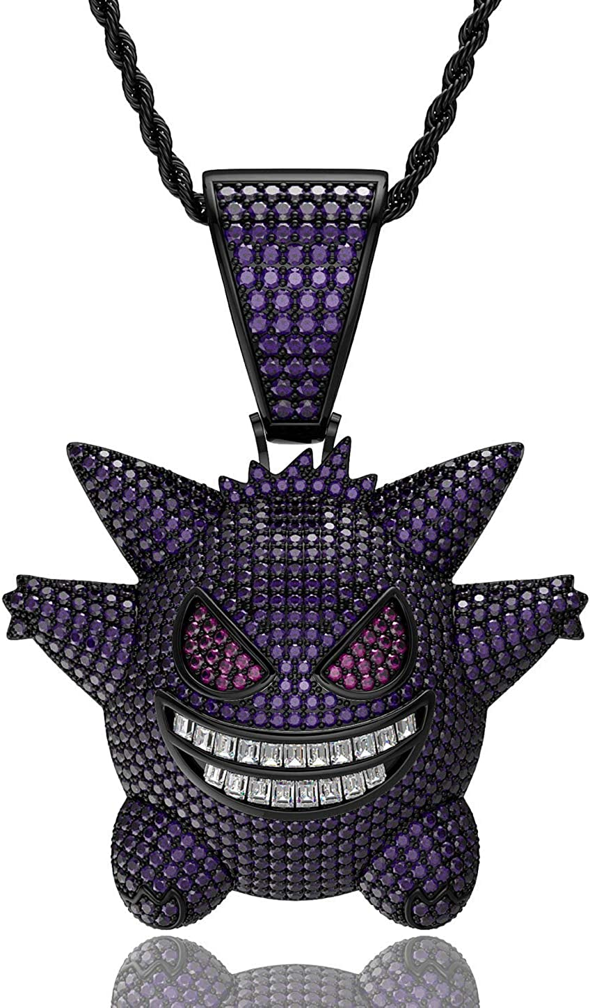 ICY FLARE - ICED OUT Gengar Pendant Necklace, White Gold and Purple Plated HIP HOP ICED OUT Bling Pokemon Gengar Choker Chain Necklace, Men and Women Pokemon Gift Jewelry for Rapper