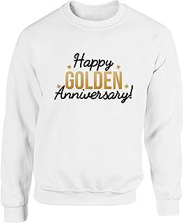 Hippowarehouse Happy Golden Anniversary Unisex Jumper Sweatshirt Pullover (Specific Size Guide in Description)