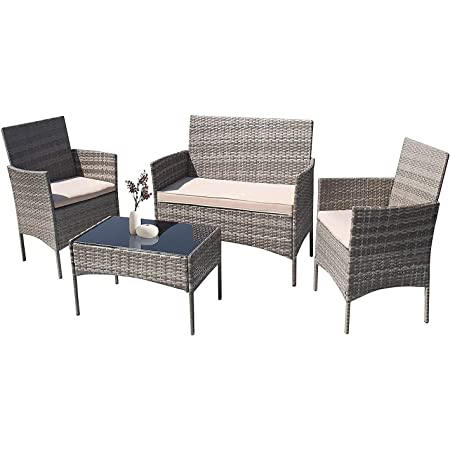 Furniwell Patio Outdoor Furniture Set 4 Pieces Porch Wicker Chairs Sets Rattan Balcony Sofa Conversation Set for Backyard Lawn Pool(Grey and Beige)